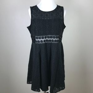 Adam Levine Lace Trim Fit Flare Dress